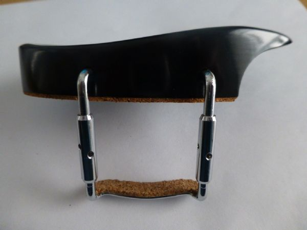 EBONY VIOLIN CHIN REST, TEKA MODEL, WITH CORKED CLAMP, 4/4, FROM UK